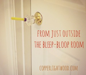 from just outside the bleep-bloop room: behind the screen at Copperlight Wood